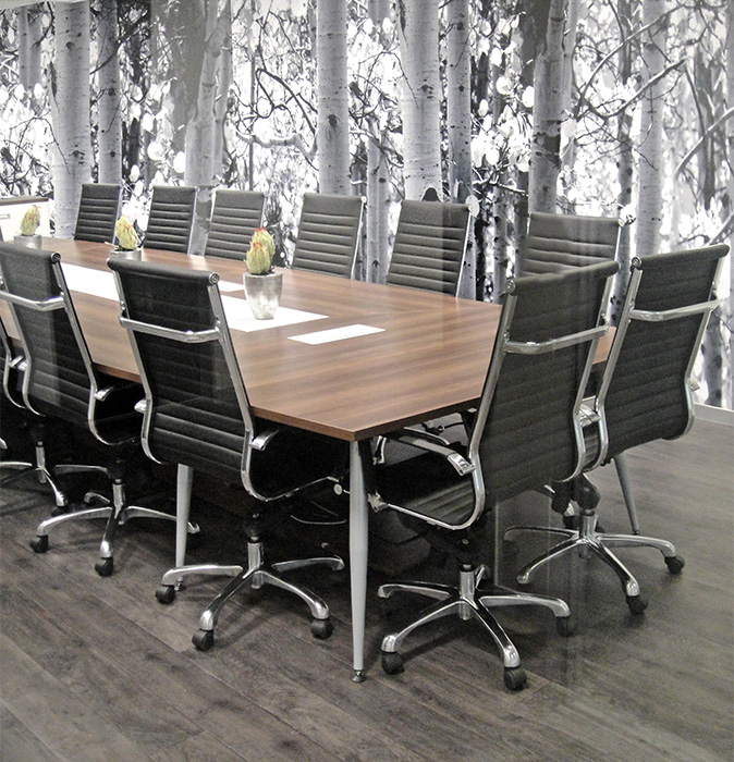 Boardroom and executive ergonomic boardroom chairs covered in black leather