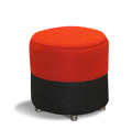 Round soft chair in black and red fabric