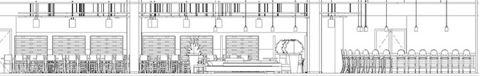 Side elevation of Unisa canteen layout