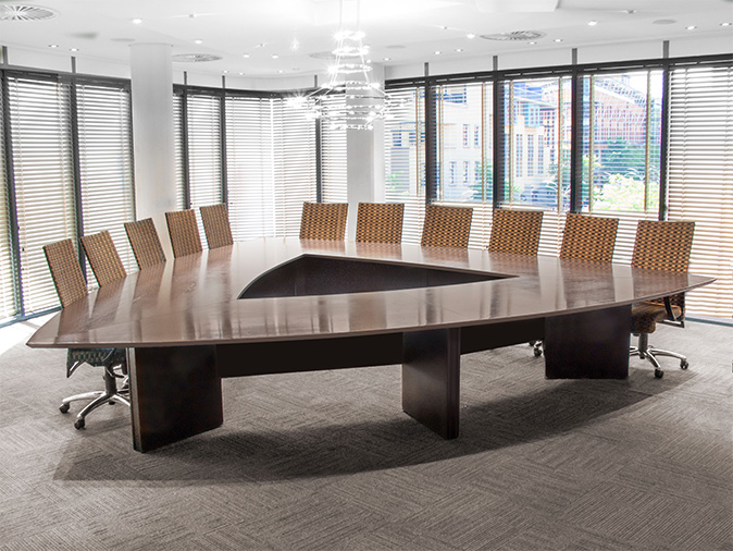 Boardroom chairs,  in weave fabric and boardroom table
