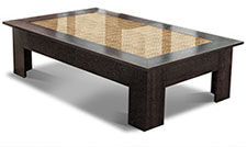 Reception coffee table with inset made with boardroom chair fabric